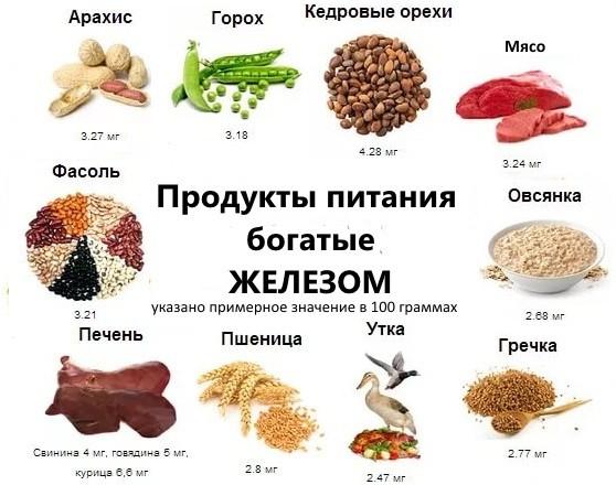 продукты питания богатые железом с указанием зодержания в 100 гр
