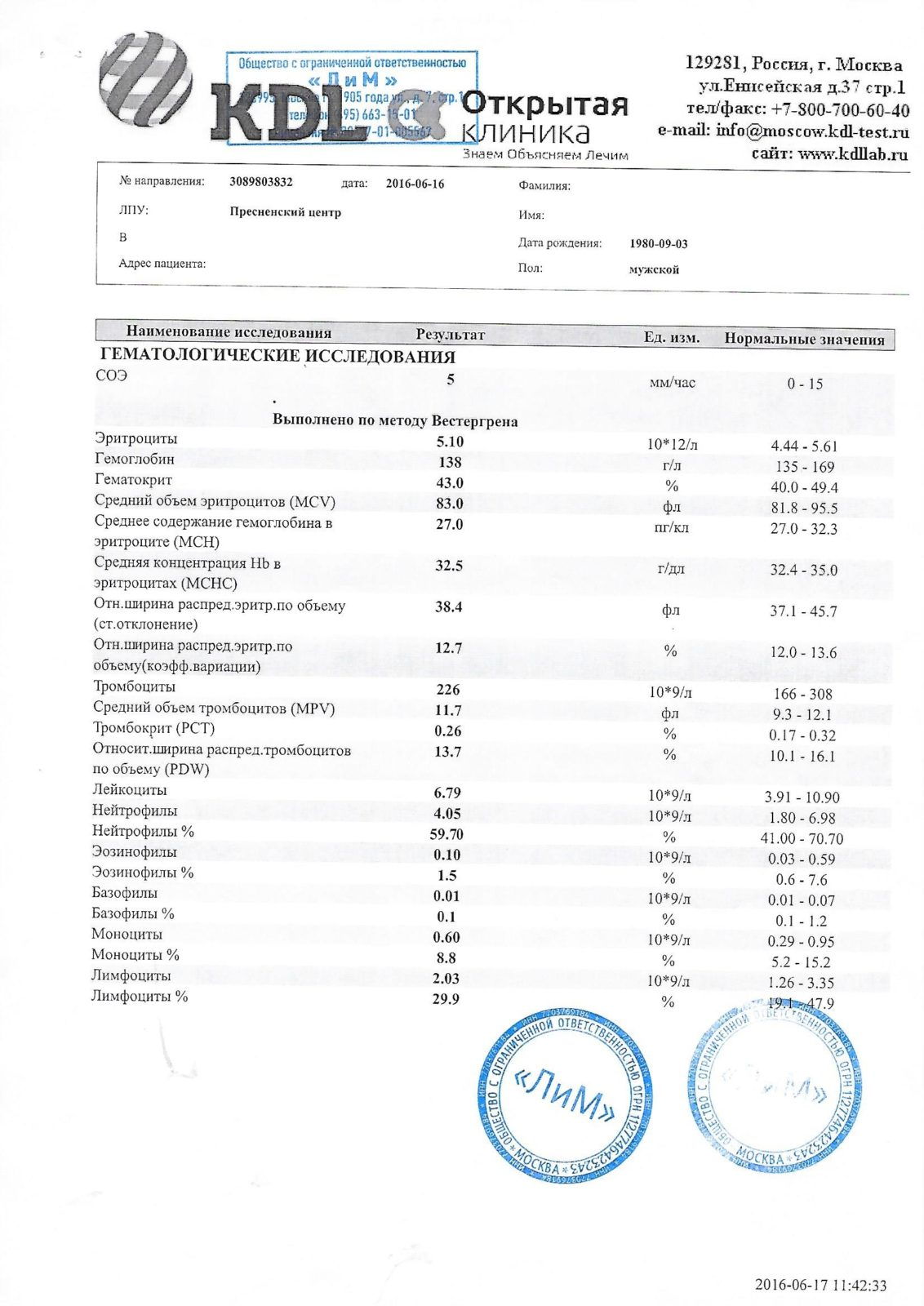 Результат анализа крови на биохимию расшифровка общий анализ крови можно ли есть перед ним